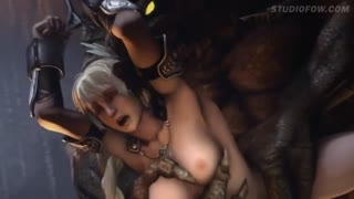 Terrible forest monster caught a skinny naked girl and fucked hard in a small pussy